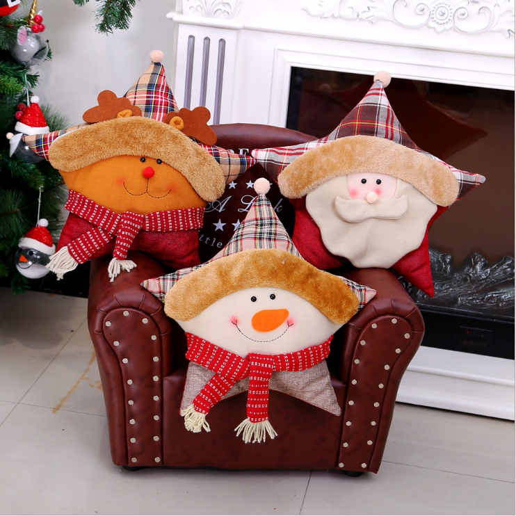 Wholesale Decorative Articles Five Pointed Star Christmas Children Gift Fabric Art Christmas Pillow