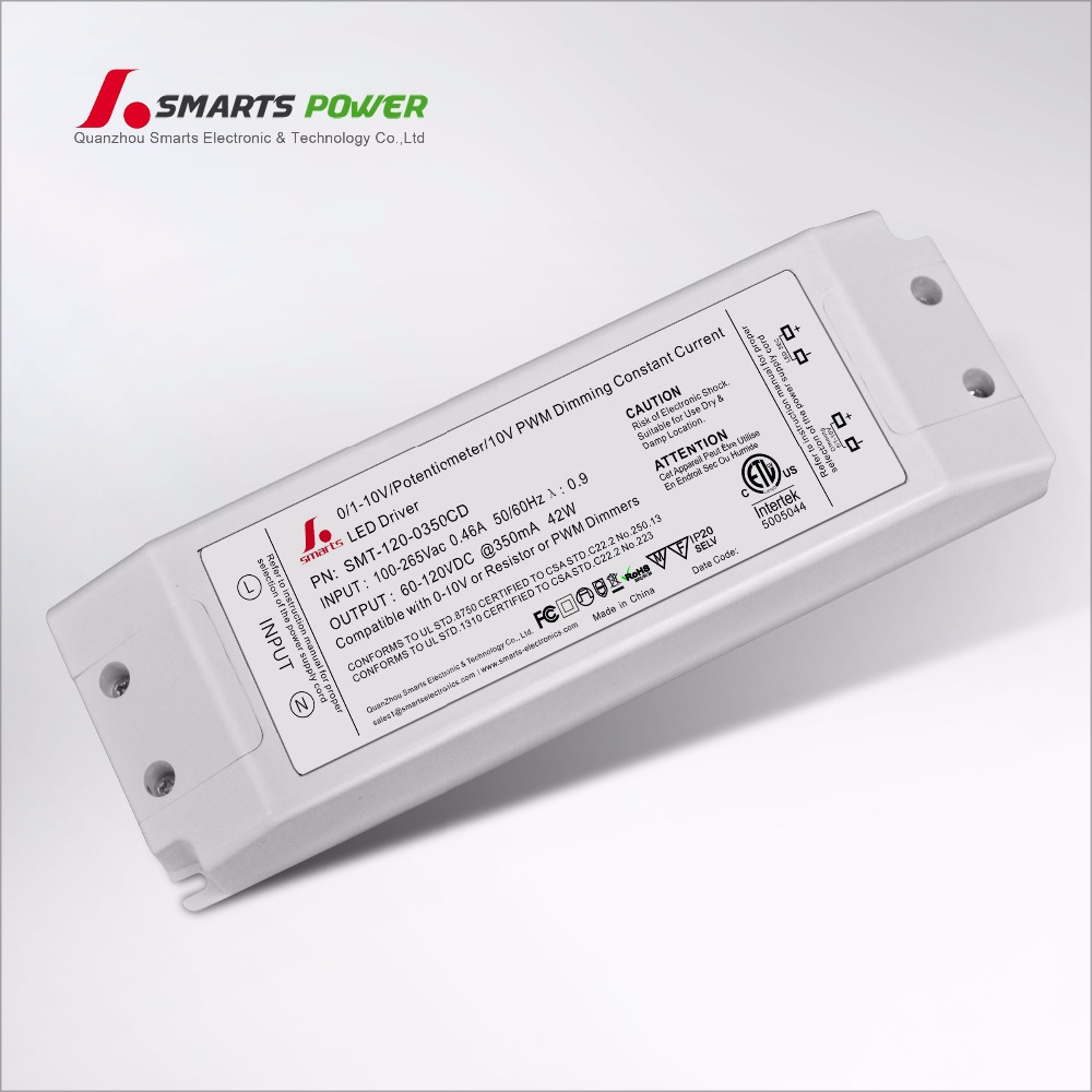 0-10V PWM Dimmable 350ma 42W constant current LED Driver
