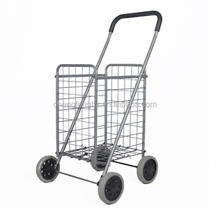 The Iron Wires basket Folding Shopping Trolley For Park