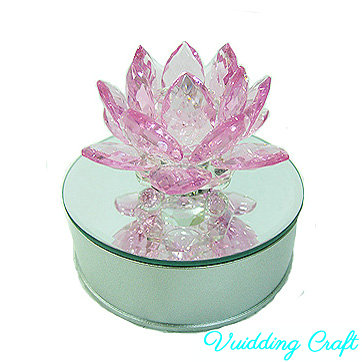 LED Base Roze Kristal Lotus Bloem Voor Wedding Party Favor