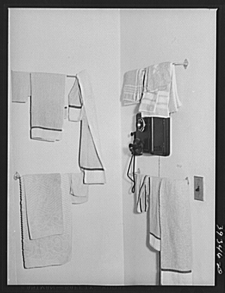1941 Photo Towels in boarding house for single men. San Diego, California Location: California, San Diego, San Diego County