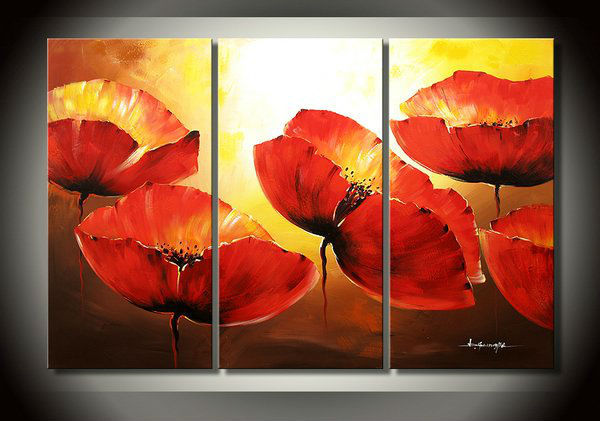 3pieces Modern Abstract Huge Wall Art Oil Painting On: Large Red Poppy Flower 3 Piece Canvas Wall Art Abstract