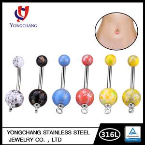 Wholesale Fake Acrylic Double Balls Belly Button Piercing,Dangle Link Belly Button Ring For Women