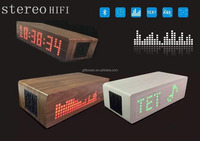 blue booth stereo hifi speaker slogan message LED MDF wooden alarm clock