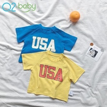 Factory wholesale fashion usa style baby boys summer cotton t-shirt 1939