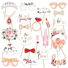 UMISS Wedding Bridal Shower Photo Booth Props for Girls Night Out Hen Party Gift Accessories Favor Supplies