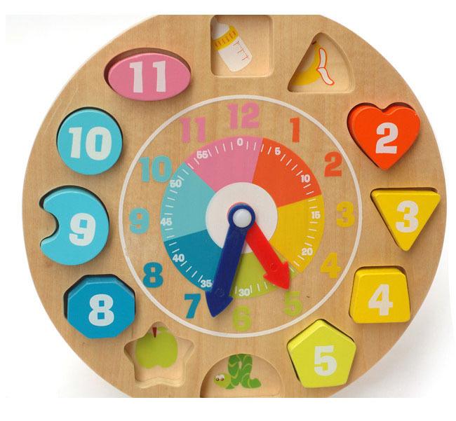Preescolar Juguetes Educativos Para Ninos De Madera Del Reloj Para