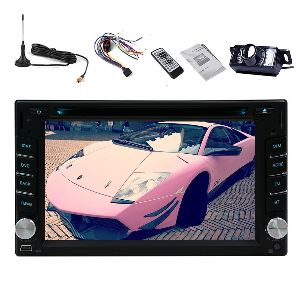 Auto DVD CD VCD Double Din Autoradio RDS Car Video Player PC Audio Electronics BT Audio In Dash Radio Receiver Car Stereo TFT Touch 6.2Inch iPod DVB-T ISDB-T Digital TV Camera