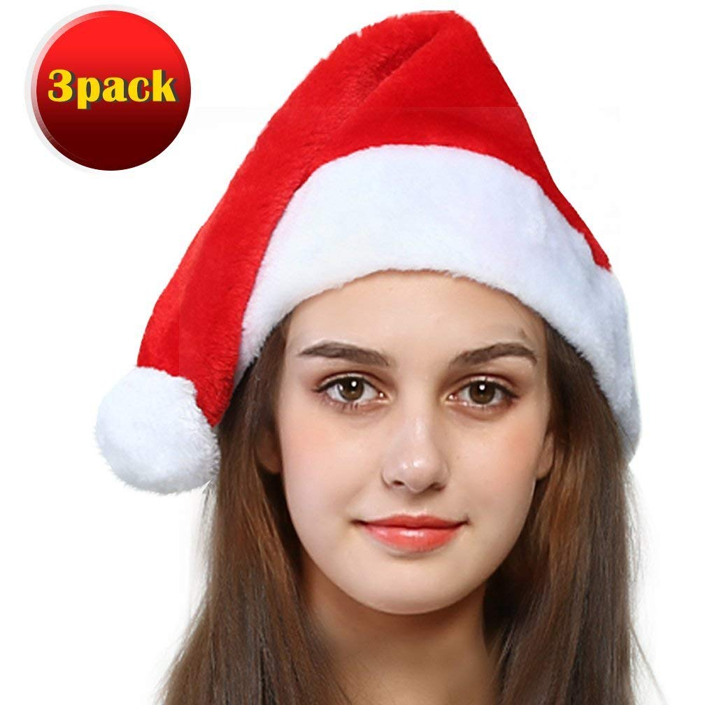 5c364d422cebd Get Quotations · jaaytct Santa Hat Santa Claus Hat Christmas Hat Holiday  Party Santa Costume Hats for Adult 3