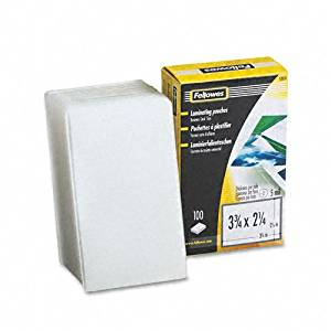 Fellowes : Laminating Pouches, 5 Mil, 2-1/4 x 3-3/4, 100/pack -:- Sold as 2 Packs of - 100 - / - Total of 200 Each