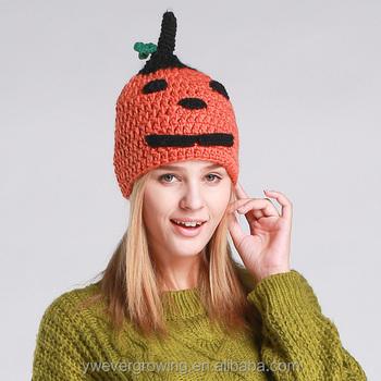 e3cb7552b8572 winter fashion women warm handmade cute pumpkin funny knit winter hats for  ladies