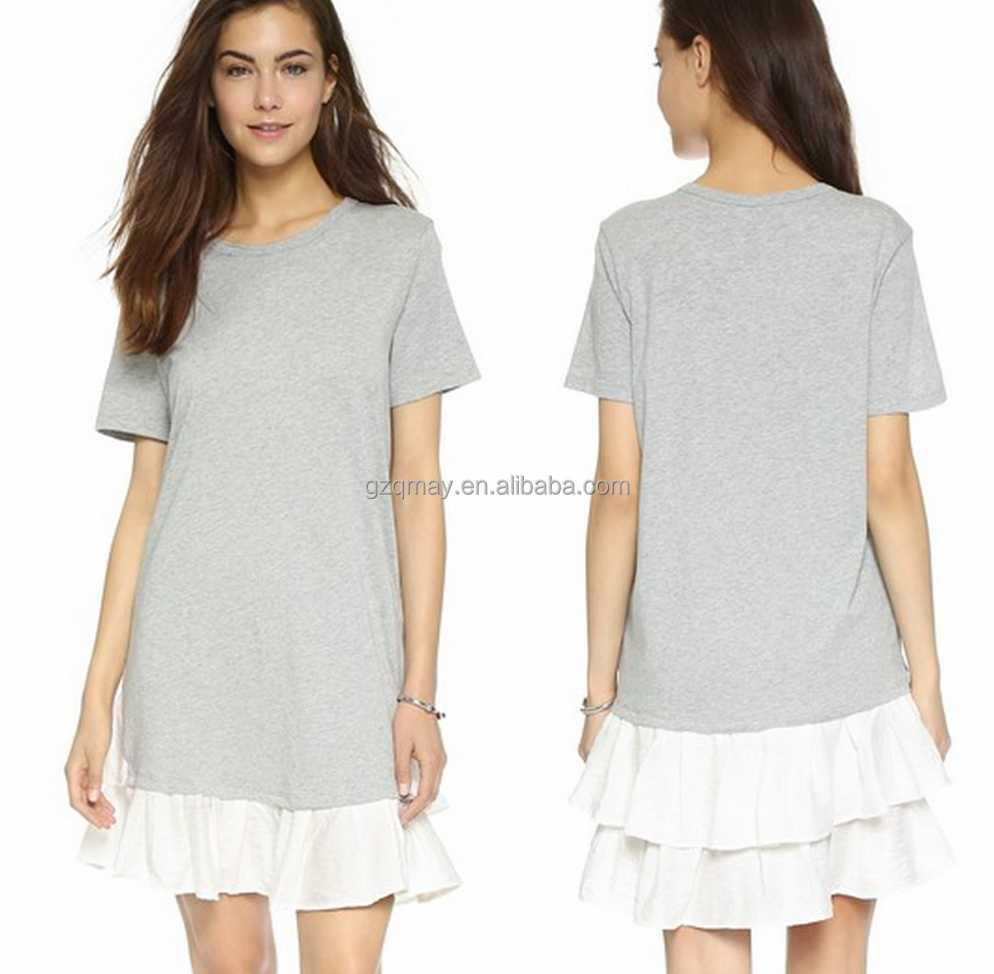 Women Wear Xxl Grey Summer Short Sleeve Contrast Color China ...