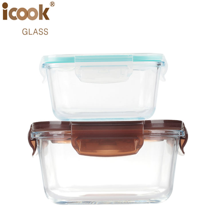 High Borosilicate Glass Airtight Containers Food Bowl Set Indian Tiffin Box