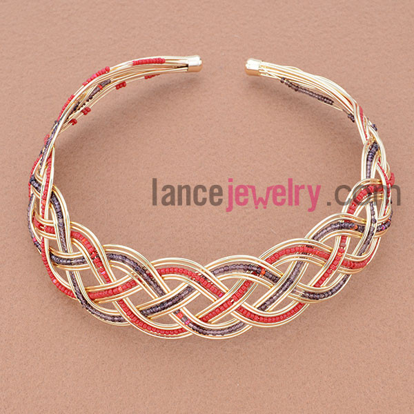Wholesale Fashion Seed Bead Ornate Iron Hair Band