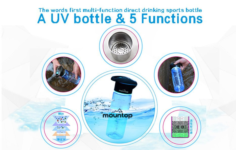 Last arrival innovative product water botter with FILTER/SOS/LIGHTING/UV STERILIZATION outdoor sports bottle 5