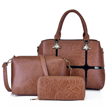 Wholesale Ladies Fashion Unique PU leather cross body women hand bags shoulder bag women tote handbags set