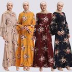 2018 Modest Fashionable Turkish Maxi Islamic Abaya Summer Floral Printing Dress