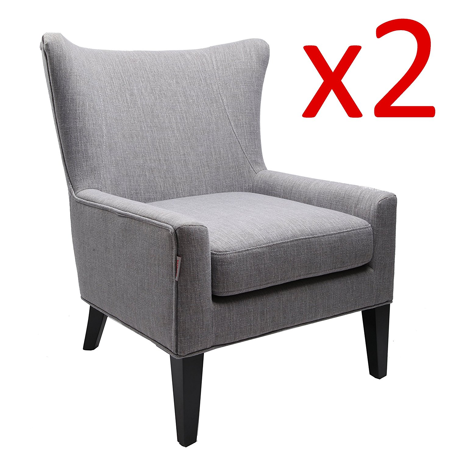 Finnkarelia tall wingback fabric accent chair upholstered armchair modern club sofa contemporary living room bedroom seat