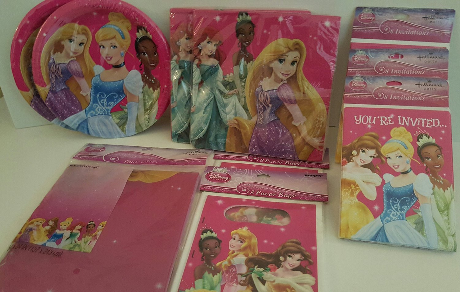 Disney Princess Birthday Party Table Cover, 8 (ct) Party Favor Bags2 Pks and 16 (ct) Napkins 2 Pcks, 8 (ct) Girls Birthday Invitations 3 Pks