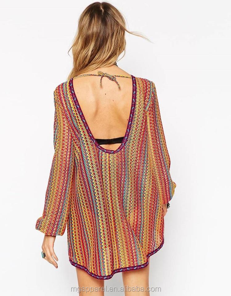 Low Scoop Back Vintage Rainbow Boho Dress Crochet Knit Swing Dress ...