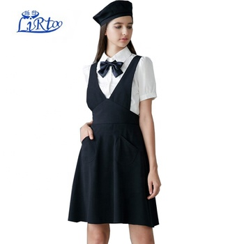 2018 New design school uniform style working uniform for coffee shop & more