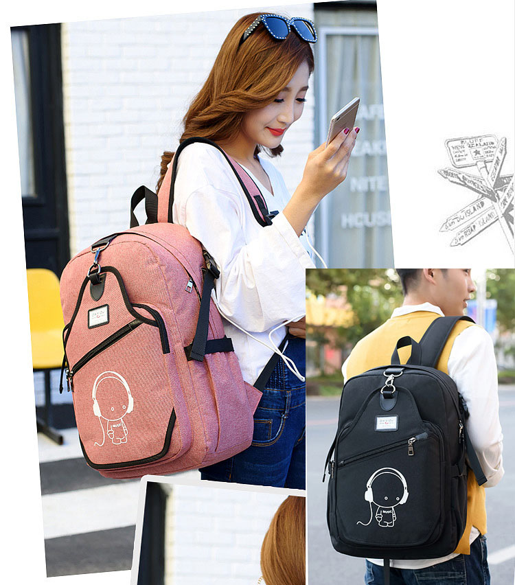 Korean Style Laptop Bag 15 Smart Hemp Backpack