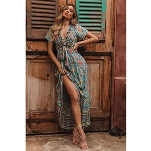 Summer Long Green Print Rayon Maxi Dress