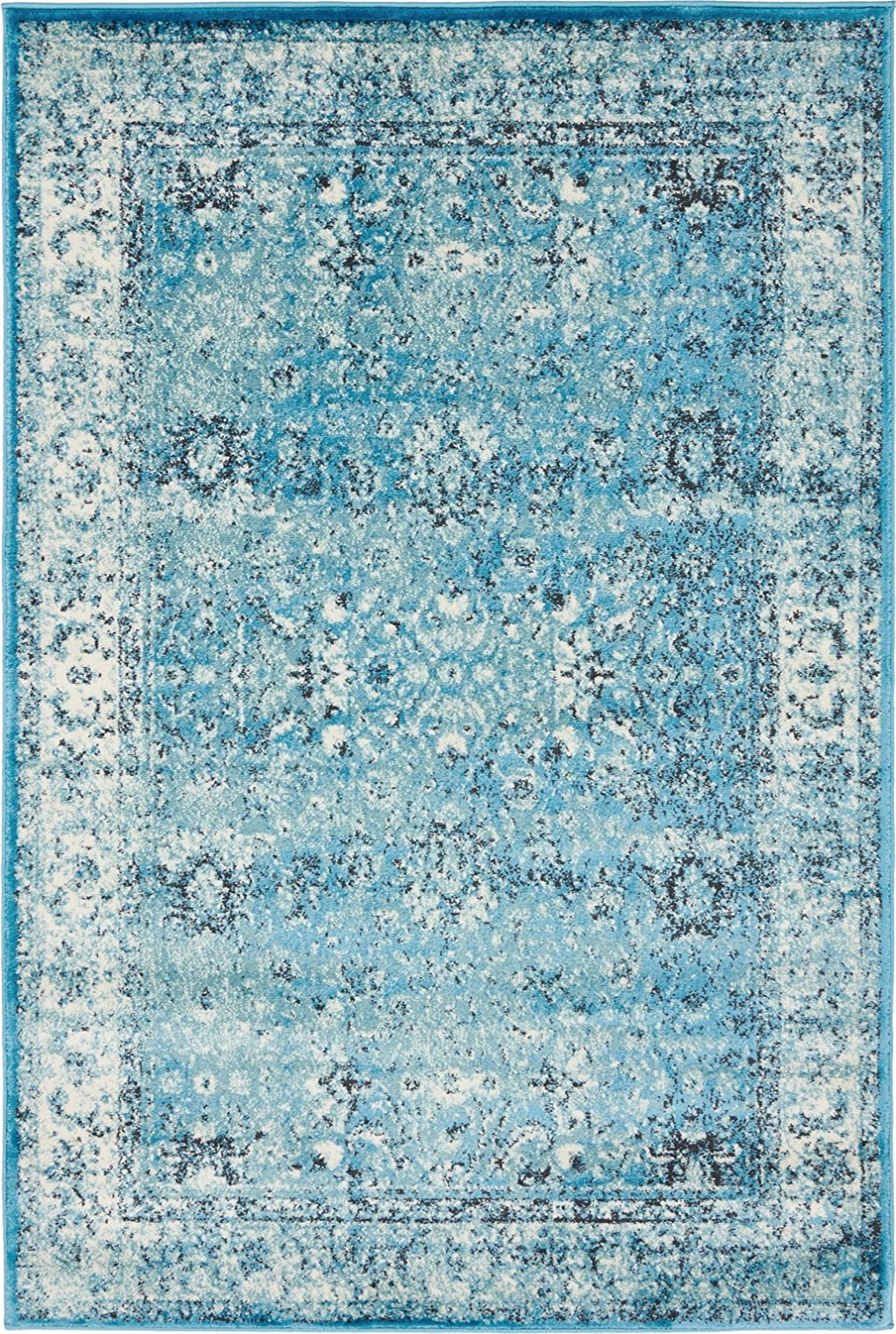 Buy Luxury Modern Vintage Inspired Overdyed Area Rugs Blue 4