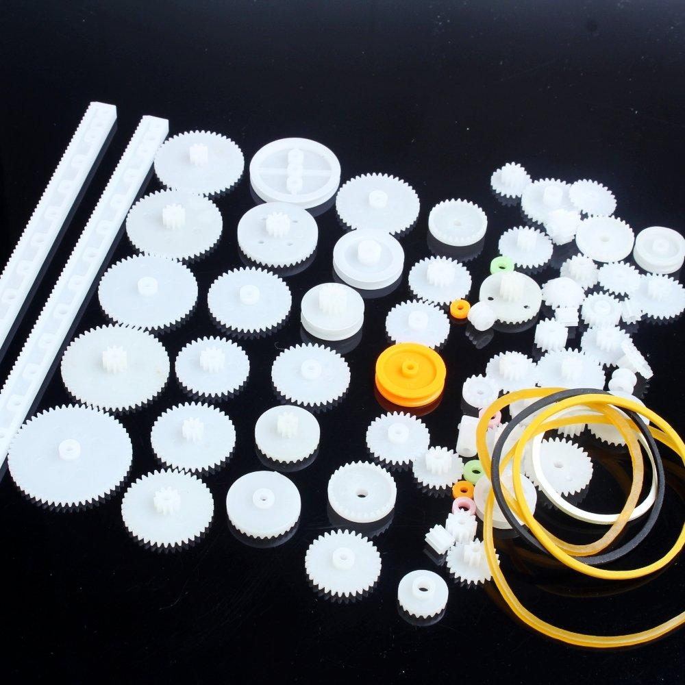DIKAVS 75 PCS Plastic Gear Motor Ggear Rack & Pinion Gears for Toys DIY Robot