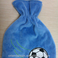 500ml Mini Blue applique Football Cotton Hot Water Bottle With Covers