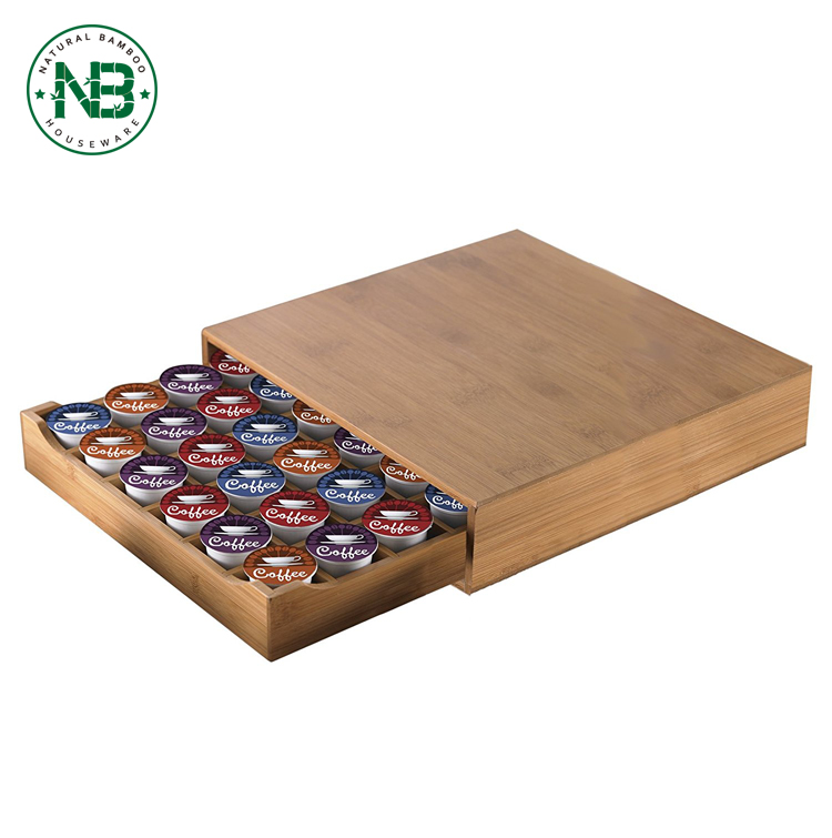Bambú Natural solo sirven café Pod Holder, cajón