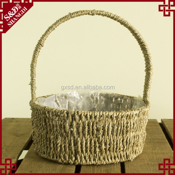 Cheap wholesale small size plant & storage used seagrass basket