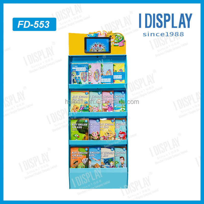 portable paper floor display stand for comic books with LCD screen