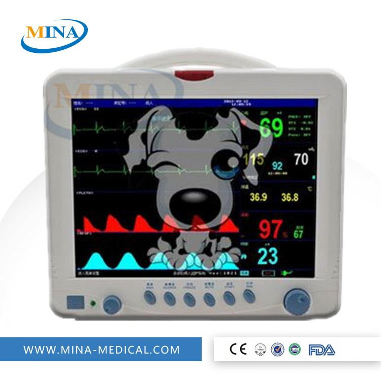 MINA-PM008 ECG/NIBP/SPO2/PR Veterinary 12.1 inch multi-parameter Vet Patient Monitor for animal