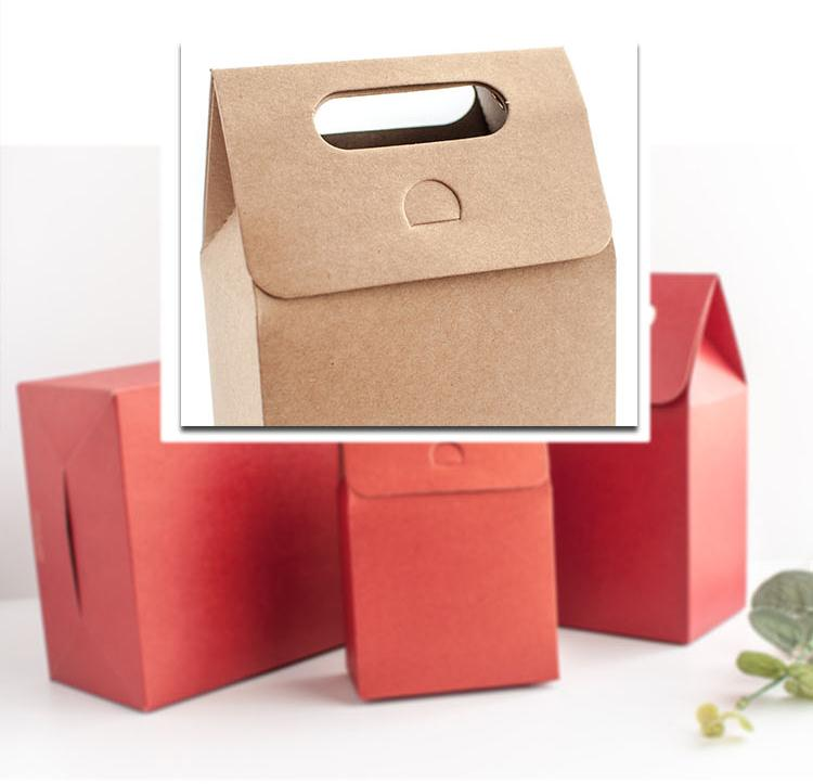 Customize logo folding small kraft take away brown paper color box with Carrier handle packaging for for handmade bakery gift