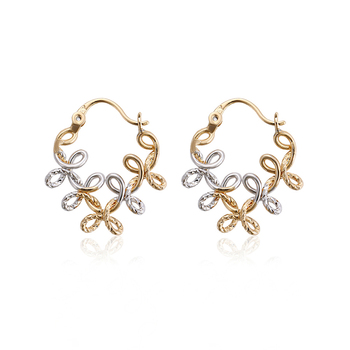 95798 Xuping Flower Gold Earring Designs Without Stones Two Tone Hoop Br Fashion Jewelry