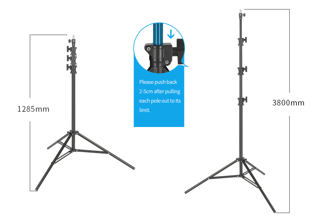 JINBEI MZ-3800FP 12.46ft / 380cm Professional Air-cushion Aluminium Light Stand for Strobe Studio Commercial Photography