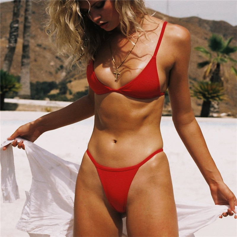 E commerce cheap red bikini promotion thong V neck Solid color