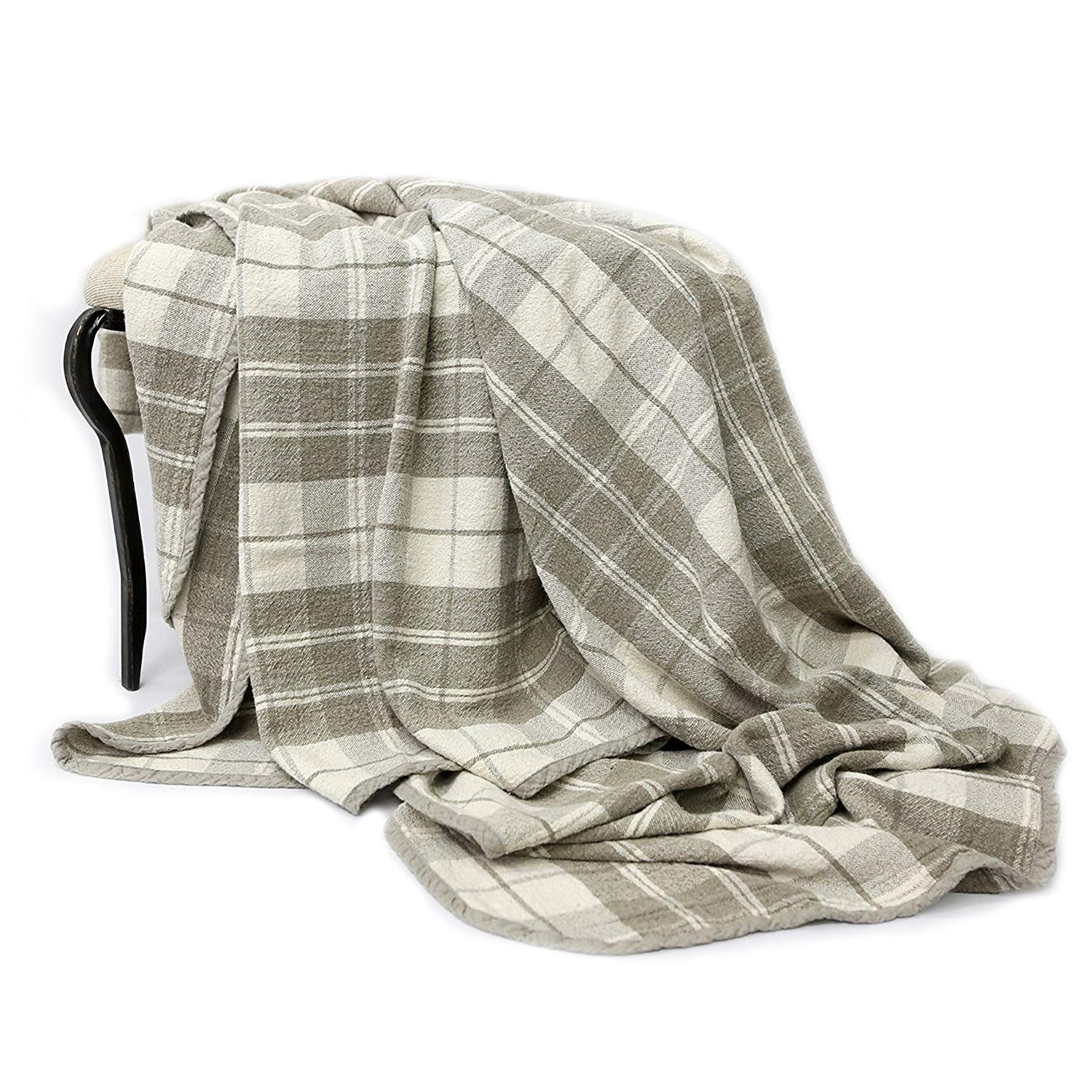100% Pure Flax Linen Plaid Throw Blanket Size 39.37 x 57.08 Inches Eco Bed Cover (Gray)
