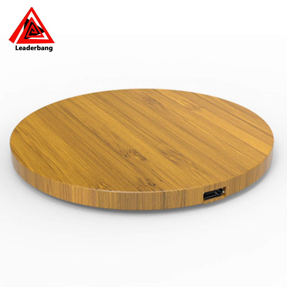 Ultrathin wood qi wireless charger on desk