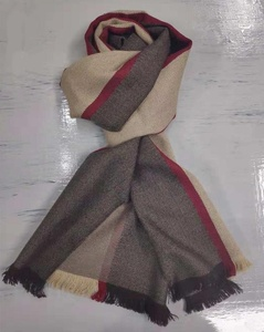 Fashion design soft feeling yarn-dyed stripe pattern 100% wool scarf muffler New,stock available