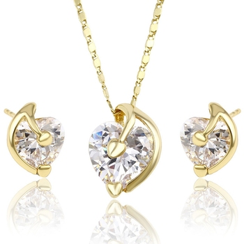 63947 xuping cubic zirconia women fashion jewelry 14k gold CZ heart shaped stone jewelry sets+light weight gold necklace set