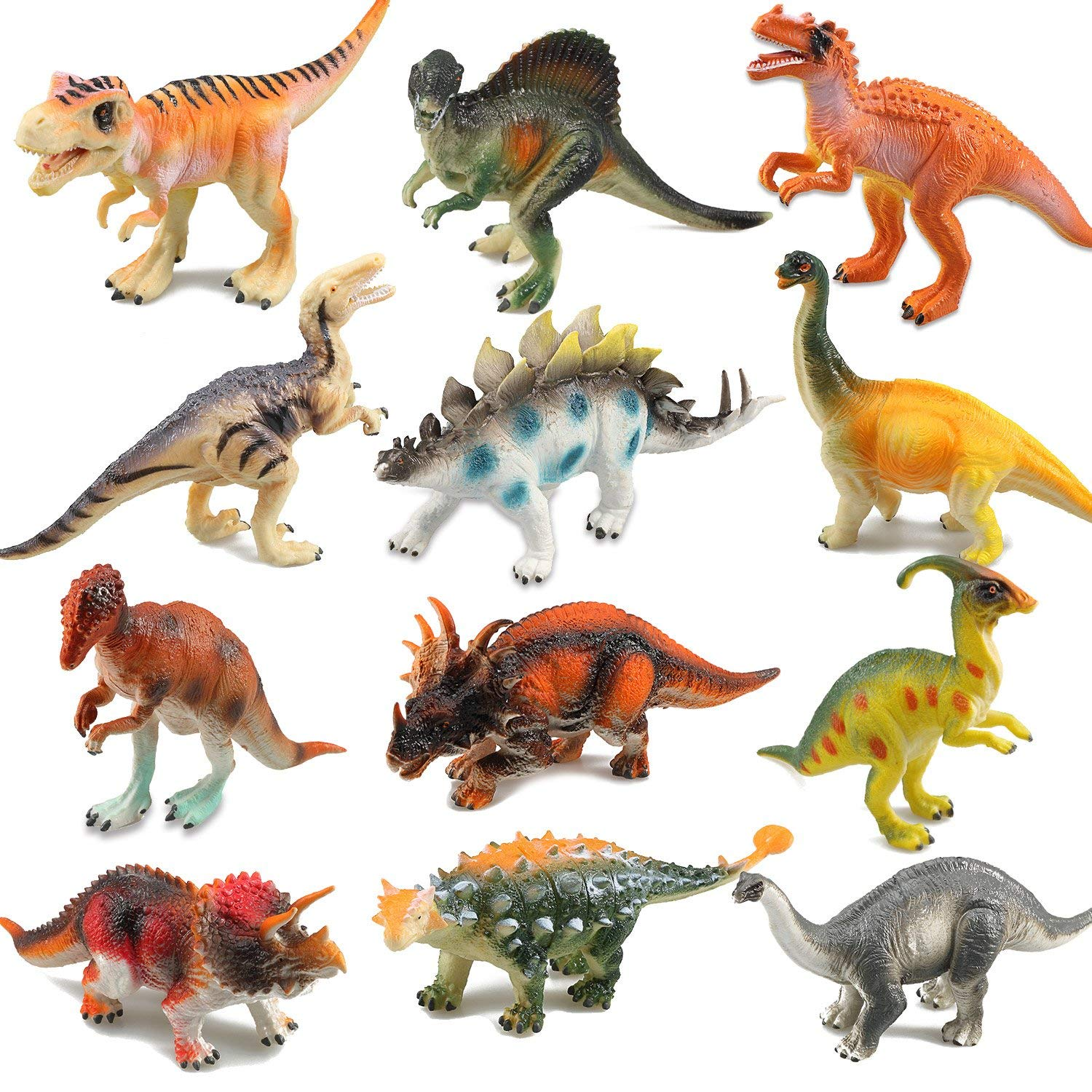 Set 12pcs 8pcs Assorted Vivid Dinosaurs Model Kids Toys Plastic Dinosaur Figures