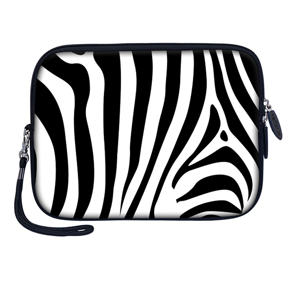 "Meffort Inc 7 inch Tablet Carrying Case Sleeve Bag w Removable Handle for most 6"" 7"" 8"" Tablet eBook - Zebra Stripe"