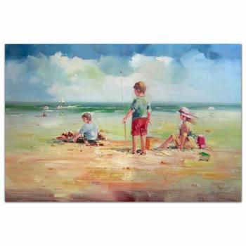 Leinwand Gemälde Kinder Strand Landschaftkunstmalerei Dekorative