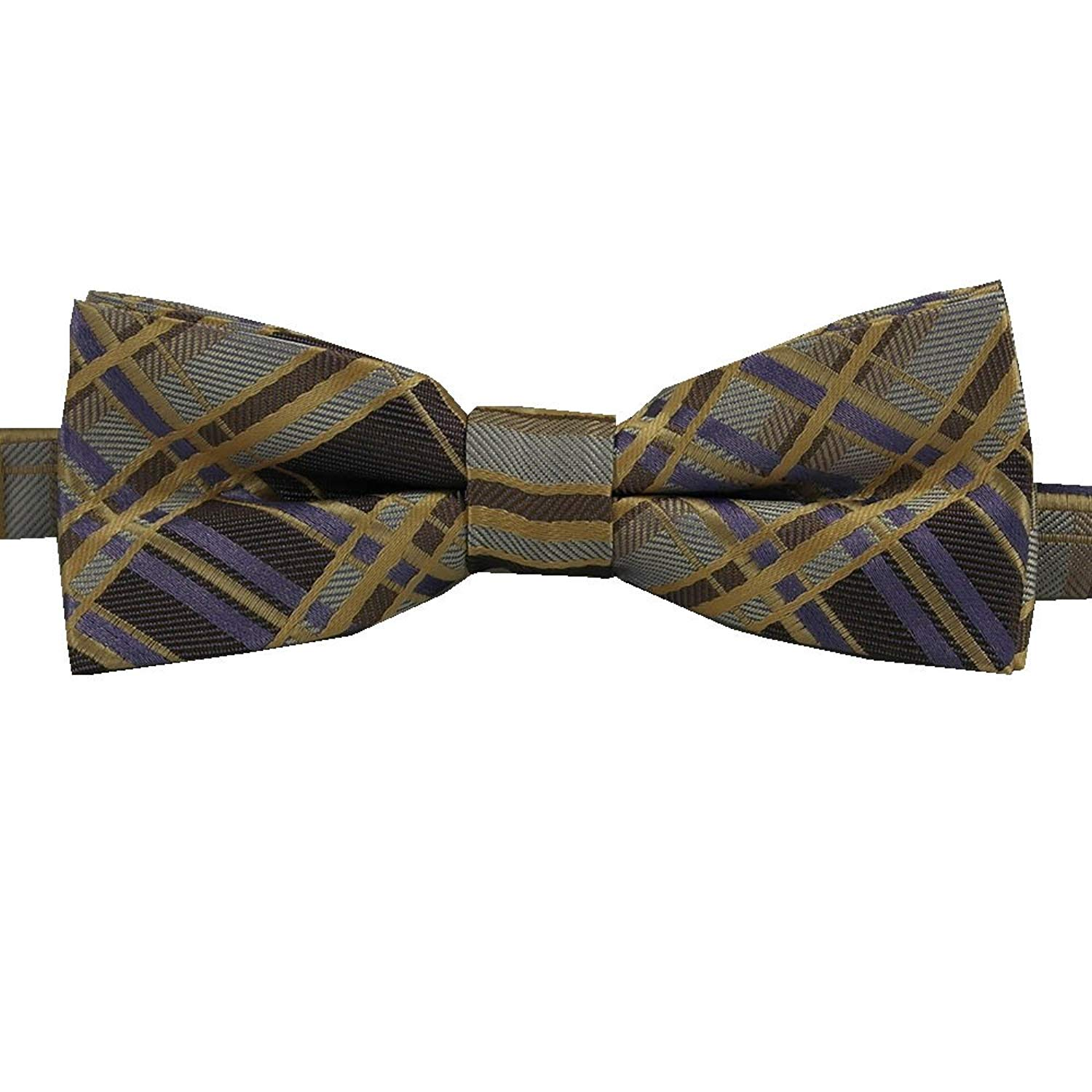 Gold adjustable bow tie band fits children 0-13 years old Purple and Brown Plaid Childrens Pretied Bow tie Lavender