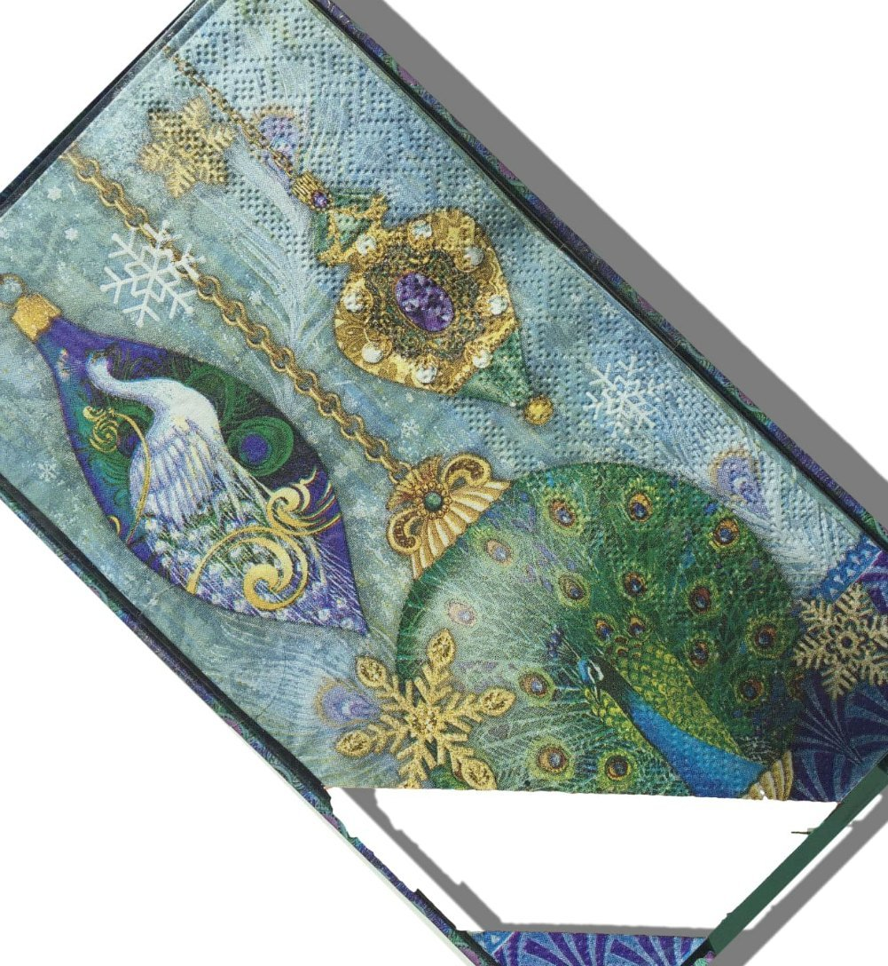 """Custom Made & Disposable {8.25"""" x 4.63"""" Inch} 24 Set Count of 3 Ply Large Size Rectangle """"Multi-Half Fold"""" Food & Beverage Napkins, Made of Soft Absorbent Paper w/ Bird Ornaments {Blue Yellow & Green}"""