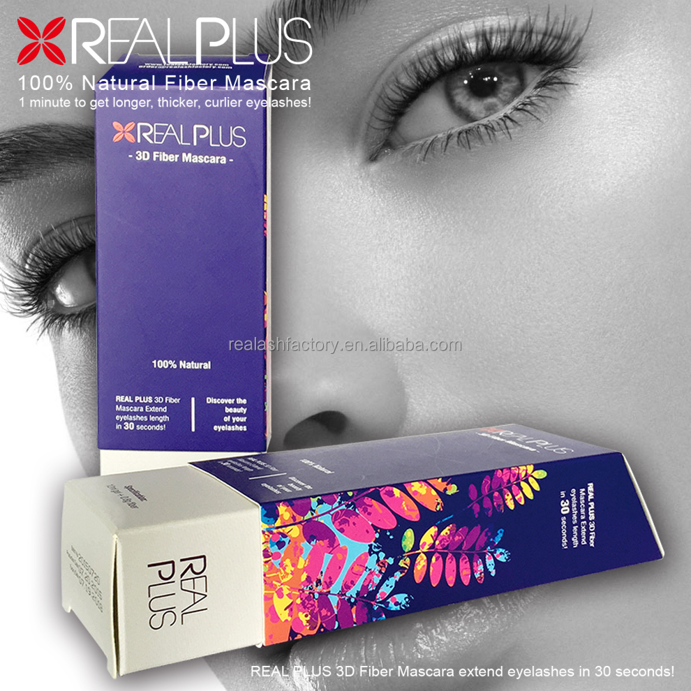 Permanent black makeup Mascara Real Plus 3D fiber mascara 2016 New Formula Version