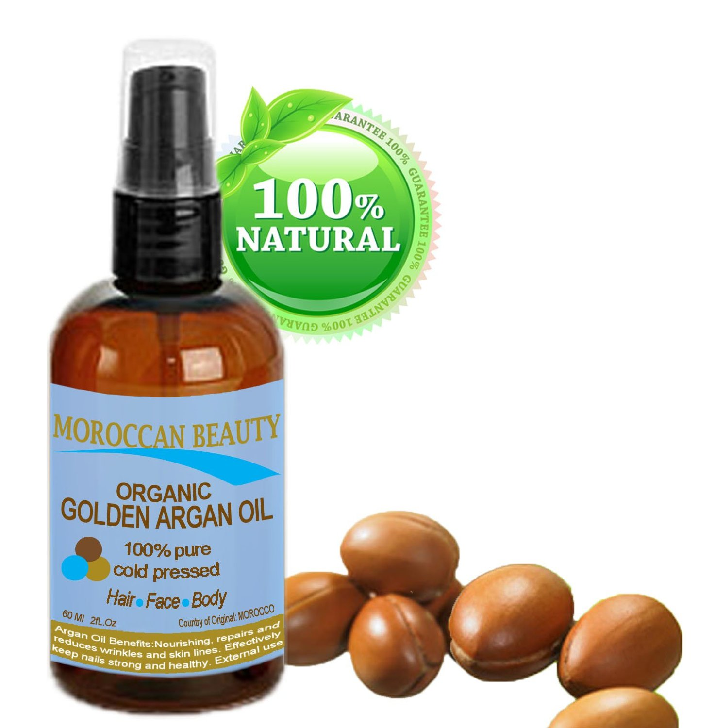Botanical Beauty Moroccan Beauty GOLDEN ARGAN OIL, 100% Pure/ Natural, Organic. For Face, Hair, Nails And Body. 4 oz-120 ml