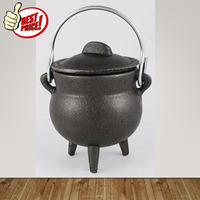 Pre Seasoned Non Stick Heavy Duty Pot Cauldron Cookware with Lid and Handle for Camping & Open Fire Cooking